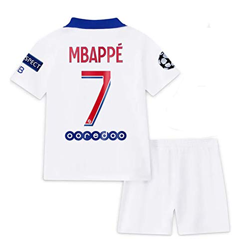 2020-2021 Season Paris #7 MBAPPE Away Kids/Youth Soccer T-Shirts Jersey & Shorts & Armbands White 10-11Years