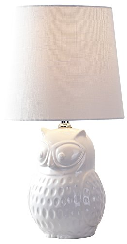 """JONATHAN Y JYL1026A Hoot 20.5"""" Ceramic Mini LED Lamp Cottage,Transitional for Bedroom, Living Room, Office, College Dorm, Coffee Table, Bookcase, White"""