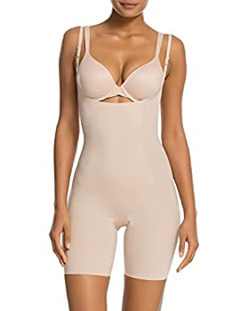 SPANX Shapewear for Women Lightweight Layer Open-Bust Mid-Thigh Bodysuit  Regular and Plus Sizes  Soft Nude LG One Size