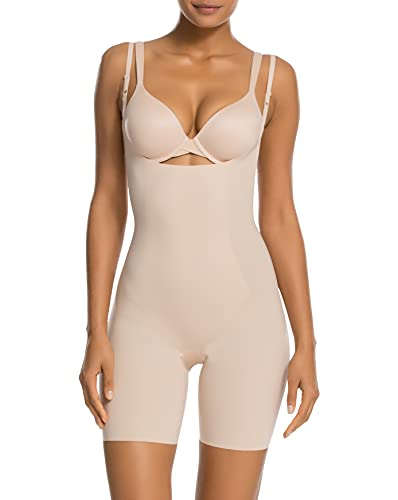 SPANX Shapewear for Women Lightweight Layer Open-Bust Mid-Thigh Bodysuit (Regular and Plus Sizes) Soft Nude MD One Size