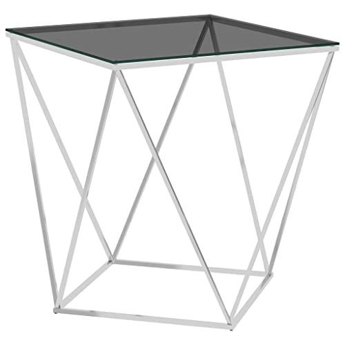 vidaXL Tavolino da salotto, tavolino da caffè, in vetro, per il divano, per il tè, per telefoni, argento, nero, 50 x 50 x 55 cm, in acciaio inox