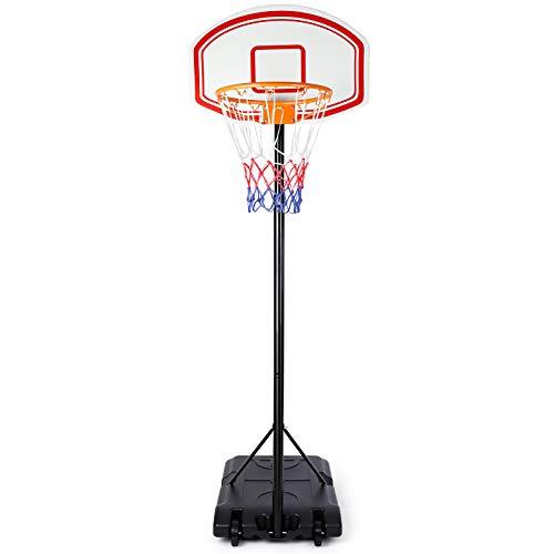 amzdeal Einstellbare Basketballständer Basketballkorb mit Ständer Tragbar Korbanlage Outdoor Basketballanlage Höhenverstellbar von 173 bis 213cm