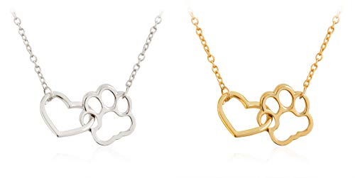 Dog Paw Print Necklace,2 PACK Forever Love Heart Shape Pendant Set,Cute Hollow Clavicle Jewellery,Gift For Friends Women Men and Doggy Owners (Gold-Paw)