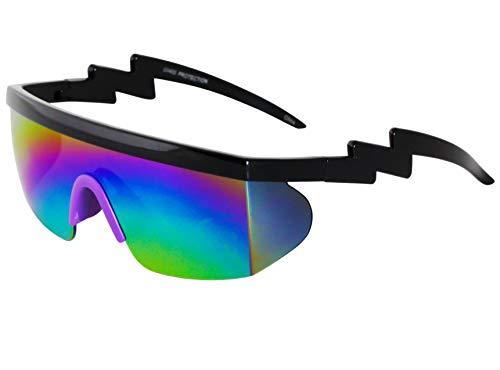 Semi Rimless Goggle Style Retro Rainbow Mirrored Lens ZigZag Sunglasses...