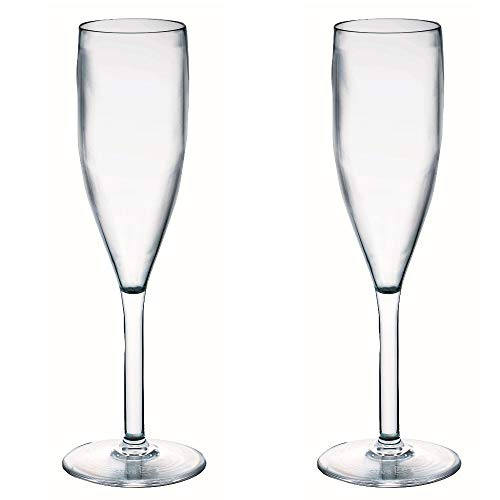 Viva Haushaltswaren - 2 x bruchfestes Sektglas 190 ml, Kunstoffgläser (Polycarbonat) im Set als Partygläser, Picknickgläser & Bootsgläser etc. verwendbar (wie echtes Glas)