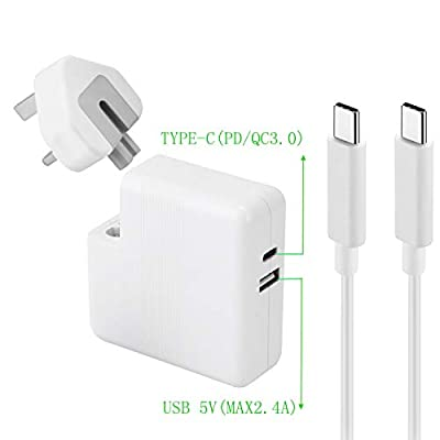 USB-C 65W/61W Type C Power Adapter Charger, With One USB Port (5V mobile phone charger) for MacBook/Pro, Lenovo, ASUS, Acer, Dell, Huawei, HP and Other Laptops or Phones with USB C- CE FCC UL Listed