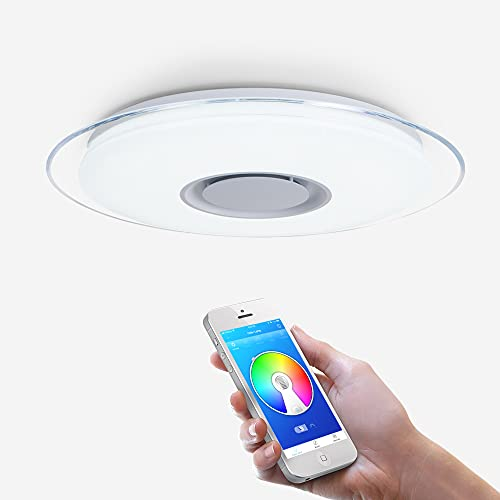 OFFDARKS - Plafóns LED Lámparas de Techo con Altavoz Bluetooth, APP Mando a Distanci + brillo ajustable + color change (B - 52W 550MM Redondo)