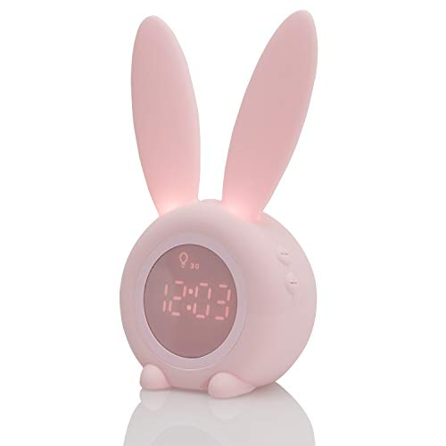 Réveil Matin à Induction en Forme de Lapin Mignon (Rose)