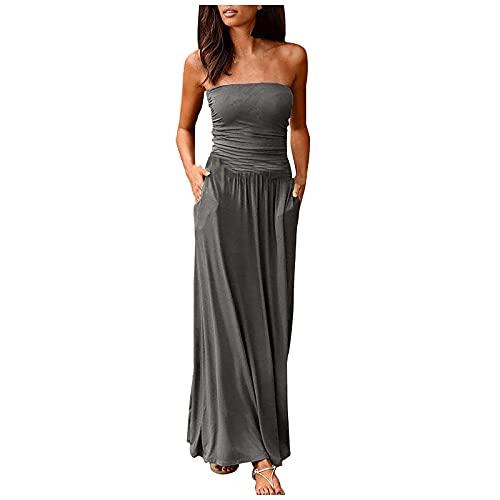 FQZWONG Women's Bandeau Dress Off Shoulder Long Dress Fashion Summer Solid Maxi Dress for Holiday Beach(A-Gray,Large)