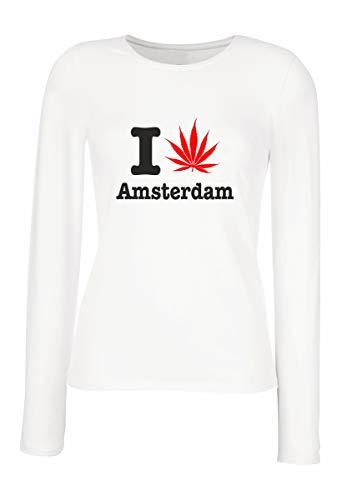 T-Shirt para Las Mujeres Manga Larga Blanca T0178 I Love Amsterdam