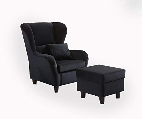 lifestyle4living Ohrensessel mit Hocker in schwarzem Samt bezogen | Der perfekte Sessel für entspannte, Lange Fernseh- und Leseabende. Abschalten und genießen!