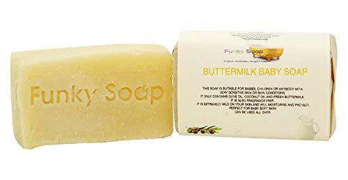 Funky Soap Buttermilchseife Parfümfrei, 100% Natürlich Handgemacht, 1 Stück 65g