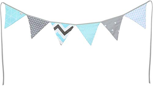 PREMYO Banderines de Tela Infantiles - Guirnaldas Decoración Habitación Bebé Niño - Triángulos Colores Gris Menta