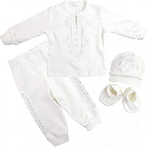Taufanzug Junge Baby Handgemacht mit Stickerei, Gr. 68