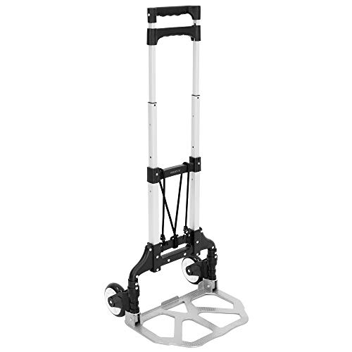 Mount-It! Folding Hand Truck and Personal Dolly, Aluminum Luggage Cart, 165 lb Capacity with Rubber Wheels and Telescoping Handle for Indoor Outdoor Moving Travel