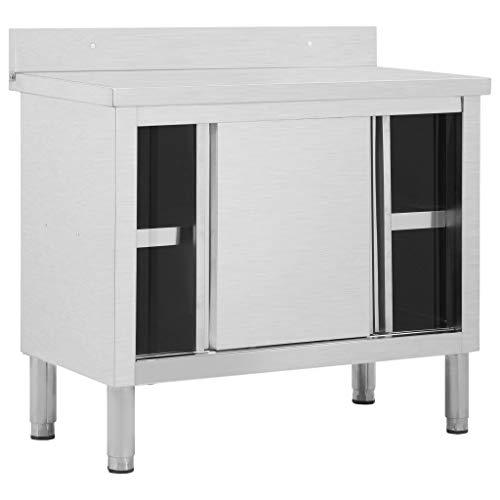 Cikonielf - Banco de trabajo con puertas correderas, 100 x 50 x 95 cm, de acero inoxidable, mesa de trabajo para cocina, banco de restaurante con espacio para almacenar objetos