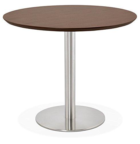 Alterego Petite Table de Bureau/à Diner Ronde 'Indiana' en Bois Finition Noyer - Ø 90 cm