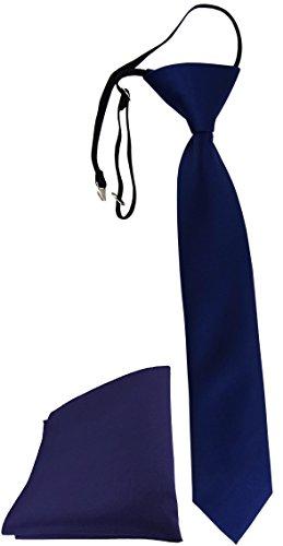 TigerTie Security Sicherheits Krawatte + Einstecktuch in marine einfarbig Uni - vorgebunden mit Gummizug