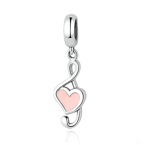 LISHOU Mujer Plata De Ley 925 I Love Music Notes Charm Beads Fit Original Pulsera Collar Colgante DIY Auténtica Joyería Fina
