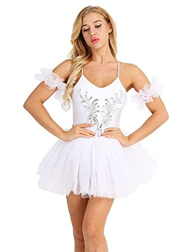 NC Cosplay, Correas sin Mangas de Espagueti para Mujer, Disfraz de Bailarina de Ballet de Lago de los cisnes, Leotardo, Vestido de Baile con tut