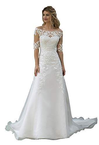 Lace Off the Shoulder Wedding Dress Buttons Down the Back