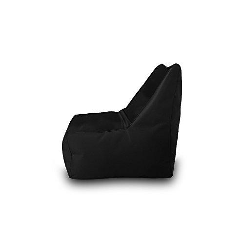 Pouf Beanbag Fauteuil Polyester imperméable pour extérieur 75 x 75 cm Noir