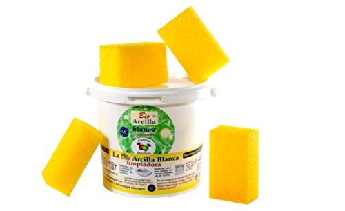Bio Arcilla Blanca Limpiadora, 4 KG Envase Industrial y 4 Esponjas Incluidas