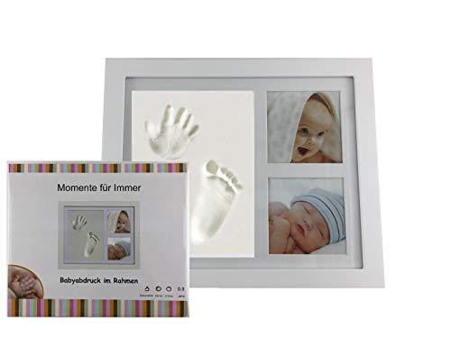 Handabdruck und Fußabdruck Baby Fotorahmen Set für Neugeborene Mädchen Jungen, personalisiertes Baby-Geschenk, Fotoalbum Baby