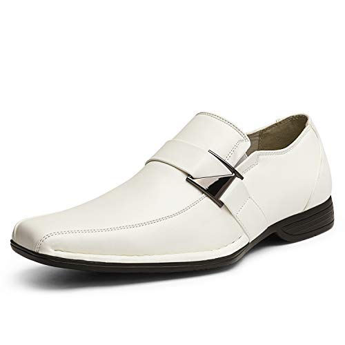 Bruno Marc Men's Giorgio-3 White Leather Lined Dress Loafers Shoes - 12 M US
