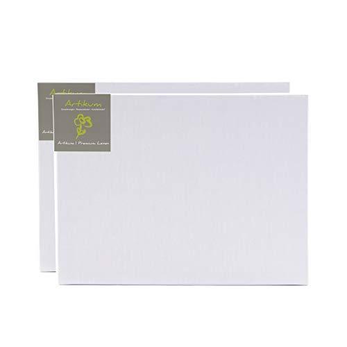 ARTIKUM 2X Premium LEINEN 60x80cm | Leinwände auf Keilrahmen 60 x 80 cm | 100% Leinentuch ±430gsm dreifach grundiert, malfertige bespannte Keilrahmen mit Leinwand