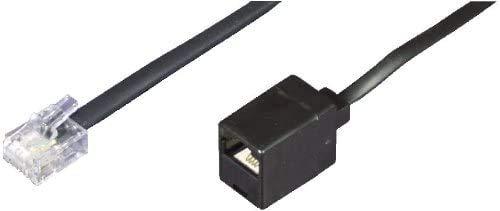 Dadusto 1 Stück Elektro Reduzier-Adapter von RJ11(6p4c) Stecker auf RJ45(8p4c) Buchse, Kabel: 4-adrig, flach und schwarz, 0,15 m