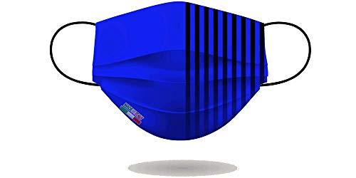Mascherina per Viso con elastici, lavabile e sterilizzabile, Unisex, Made in Italy (AZZURRO NERO)