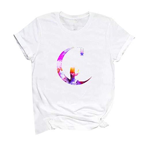 YANFANG Camiseta de Manga Corta con Estampado de carazón para el día de San Valentín para Mujer de Moda Tops gráficos novedosos de Color sólido