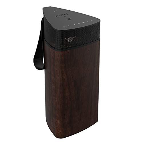 Fluance Fi20 High Performance Portable Wireless 360 Degree Speaker with Omni-Directional Sound, Bluetooth aptX Enhanced Audio, Wood Cabinet, 24 Hour Battery, Speaker Phone, Accent Light (Walnut)