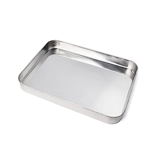 Sheet Pan, Stainless Steel Baking Pans Tray, Toaster Oven Pan Stainless Steel Baking Pan Cookie Sheet (11.22x14.25x2.36 inches)