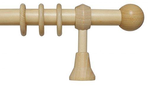 iso-design Holz Gardinenstange mit Endstück Kugel mit 28 mm Durchmesser in Natur 140 cm