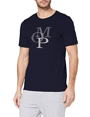 Marc O'Polo Body & Beach Herren Mix Shirt Crew-Neck Schlafanzugoberteil, Blau (Nachtblau 804), Small