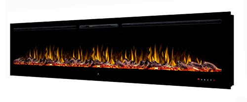 "Noble Flame Paris Schwarz 2540 (254 cm / 100"") - Elektrokamin Wandkamin Kaminofen Kamin - Wandmontage Fernbedienung - 14,5 cm Einbautiefe"