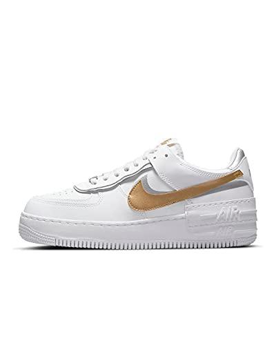 Nike Air Force 1 Shadow - Zapatillas de deporte, color blanco y dorado, White Metallic Gold Metallic Silver, 38 EU