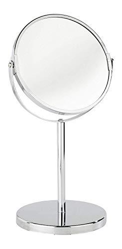WENKO Miroir cosmétique à poser Assisi - repliable, surface de miroir ø 11 cm 300 % grossissement, Acier, 14 x 29 x 12 cm, Chromé