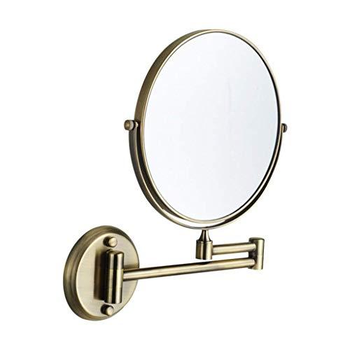 Miroir cosmétique Miroir de maquillage miroir de maquillage monté au mur pliant extensible cosmétique miroir miroir de beauté réglable face (Color : Bronze, Size : 8 inch)