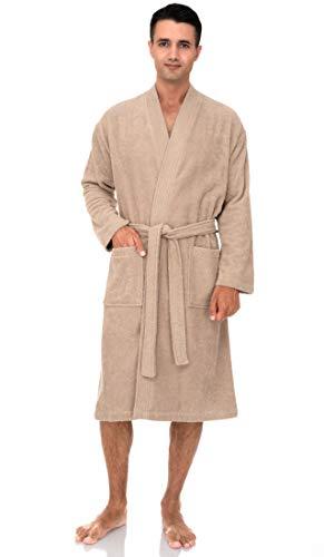TowelSelections Men's Robe, Turkish Cotton Terry Kimono Bathrobe Large/X-Large Sandshell