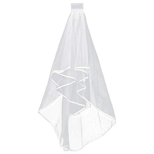 Frcolor Elegante copricapo di velo da sposa a due strati corto bianco con pelo di capelli trasparente
