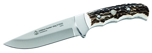 Puma IP Erwachsene Outdoor-Messer, Stahl 420, Hirschhorn-Griffschalen, Neusilberbacken, braune Leder Steckscheide Jagd-/outdoormesser, Mehrfarbig, One Size
