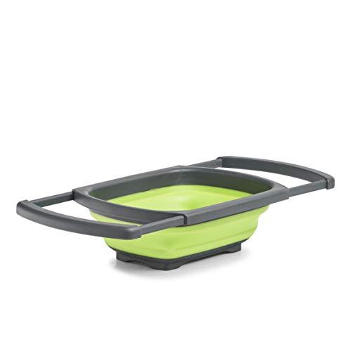 Zeller Falt-Sieb, ausziehbar, Kunststoff, grün/anthrazit, ca. 44/68 x 29,8 x 5,2/13,1 cm