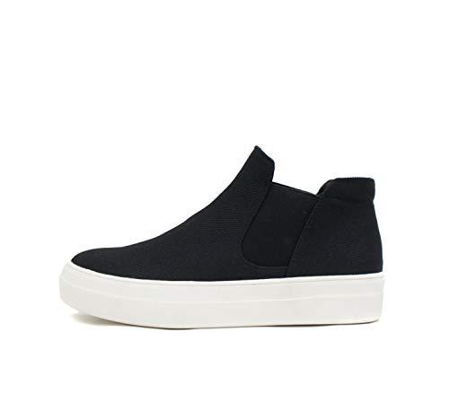 Soda Woods ~ Slip On High Top Twin Gore Double Layer Foam Padded Cushion Sock Fashion Sneakers (8.5, Black)