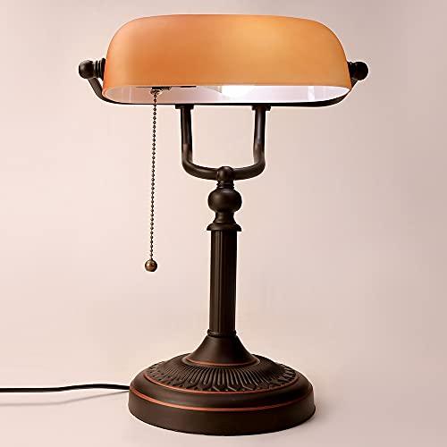 Xyxiaolun Retro Vintage Frosted Amber Shade Shade Lámpara E27 UE UE EE. UU. EE. UU. Enchufe la Sala de Estar de la Sala de Estudios de la Sala de Estudio Lámpara de Escritorio Dormitorio