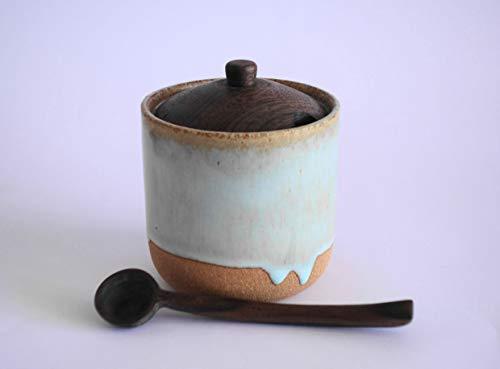 Azucarero-Salero de Gres esmaltado con tapa y cuchara tallada a mano