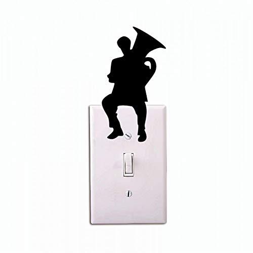 Hhuycvff vwuig Mann spielt Tuba Silhouette Lichtschalter Aufkleber Musik PVC Wandaufkleber Home Decor