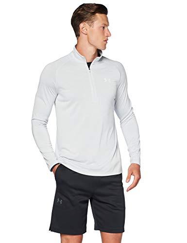 Under Armour Tech 2.0 Half Zip męski top do joggingu wszechstronny rozgrzewany top dla mężczyzn, lekki i oddychający zamek błyskawiczny do ćwiczeń - Halo szary/biały (014), duży